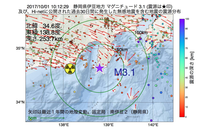 地震震源マップ:2017年10月01日 10時12分 静岡県伊豆地方でM3.1の地震