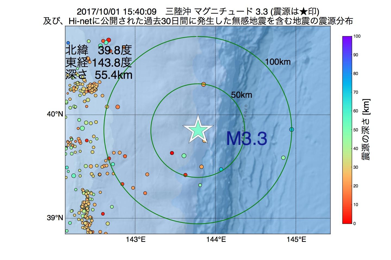 地震震源マップ:2017年10月01日 15時40分 三陸沖でM3.3の地震