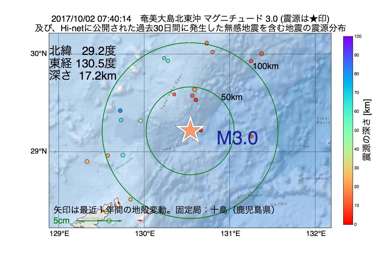 地震震源マップ:2017年10月02日 07時40分 奄美大島北東沖でM3.0の地震