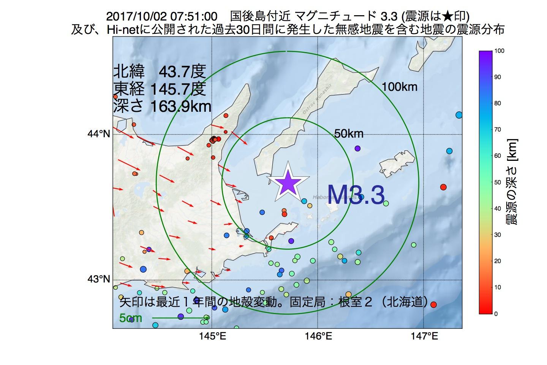 地震震源マップ:2017年10月02日 07時51分 国後島付近でM3.3の地震