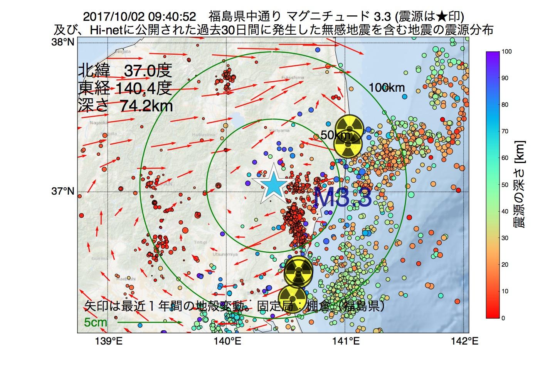 地震震源マップ:2017年10月02日 09時40分 福島県中通りでM3.3の地震