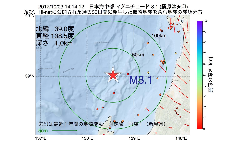 地震震源マップ:2017年10月03日 14時14分 日本海中部でM3.1の地震