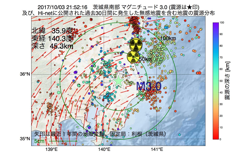 地震震源マップ:2017年10月03日 21時52分 茨城県南部でM3.0の地震