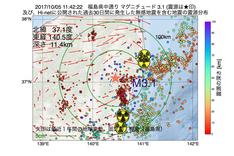 地震震源マップ:2017年10月05日 11時42分 福島県中通りでM3.1の地震