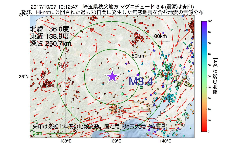 地震震源マップ:2017年10月07日 10時12分 埼玉県秩父地方でM3.4の地震