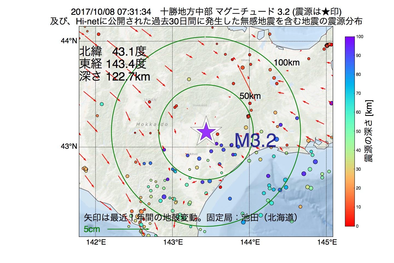 地震震源マップ:2017年10月08日 07時31分 十勝地方中部でM3.2の地震