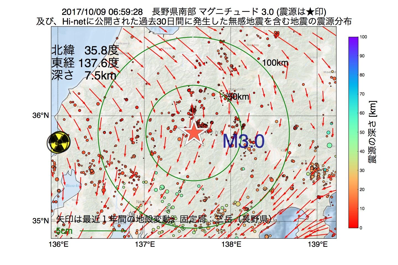 地震震源マップ:2017年10月09日 06時59分 長野県南部でM3.0の地震