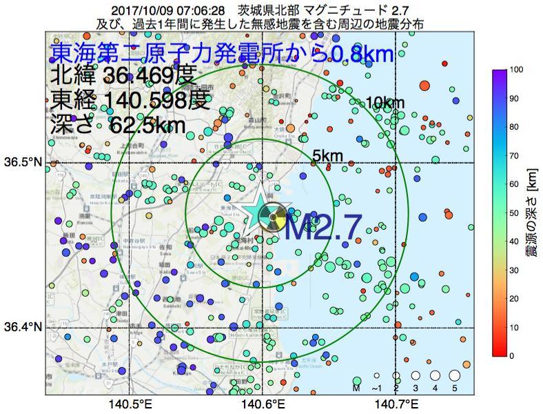 地震震源マップ:東海第二原子力発電所から0.8km地点でM2.7の地震が発生しました