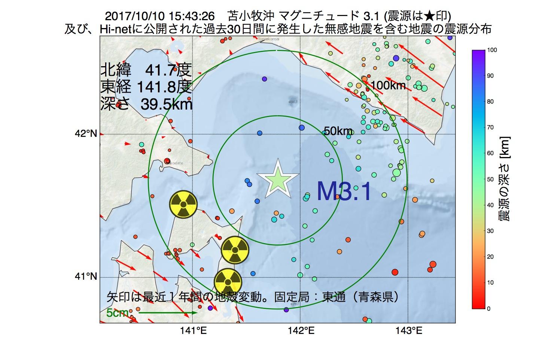 地震震源マップ:2017年10月10日 15時43分 苫小牧沖でM3.1の地震