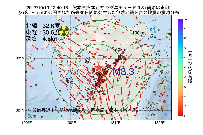 地震震源マップ:2017年10月19日 12時40分 熊本県熊本地方でM3.3の地震