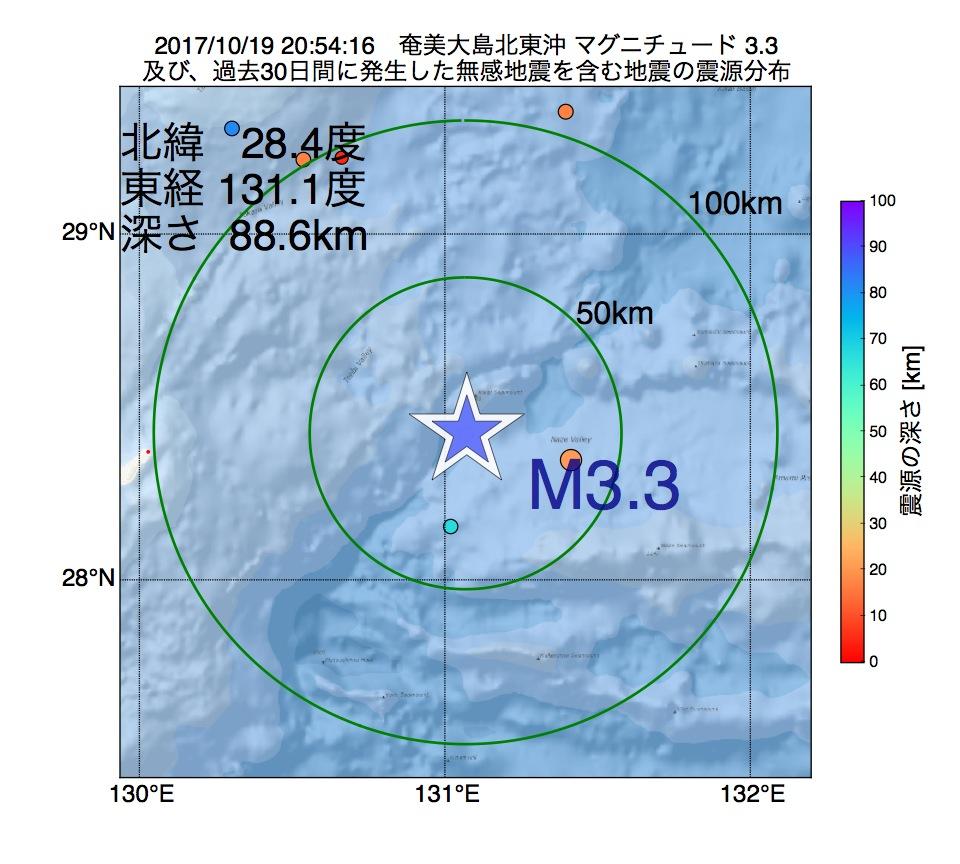 地震震源マップ:2017年10月19日 20時54分 奄美大島北東沖でM3.3の地震