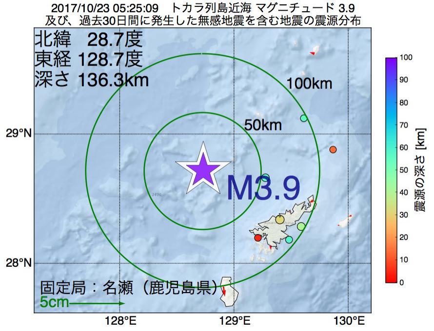 地震震源マップ:2017年10月23日 05時25分 トカラ列島近海でM3.9の地震