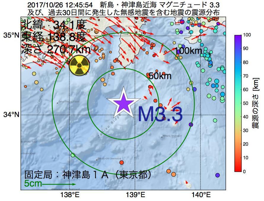 地震震源マップ:2017年10月26日 12時45分 新島・神津島近海でM3.3の地震