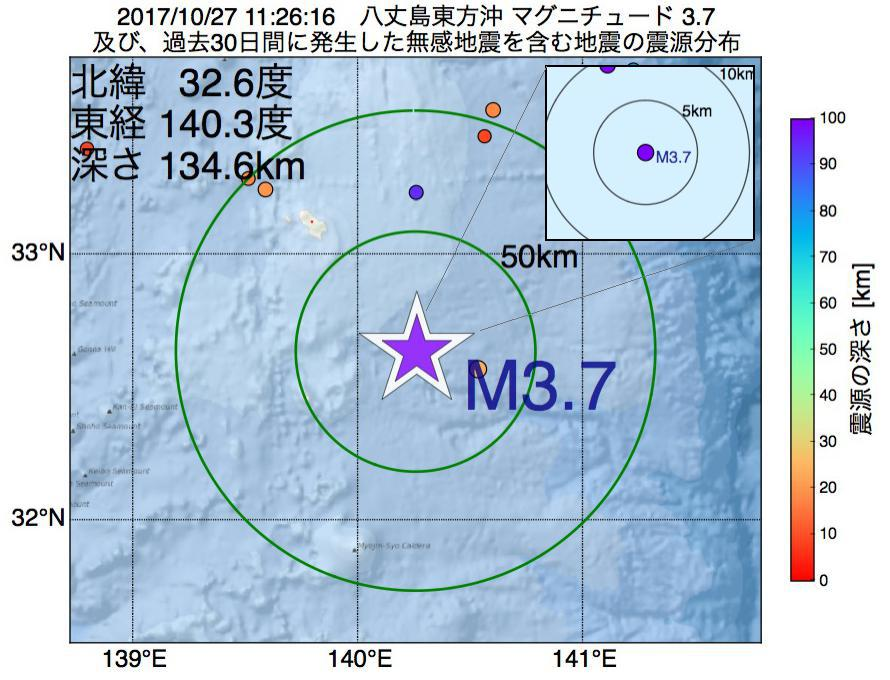地震震源マップ:2017年10月27日 11時26分 八丈島東方沖でM3.7の地震