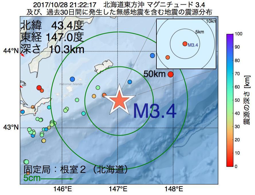 地震震源マップ:2017年10月28日 21時22分 北海道東方沖でM3.4の地震