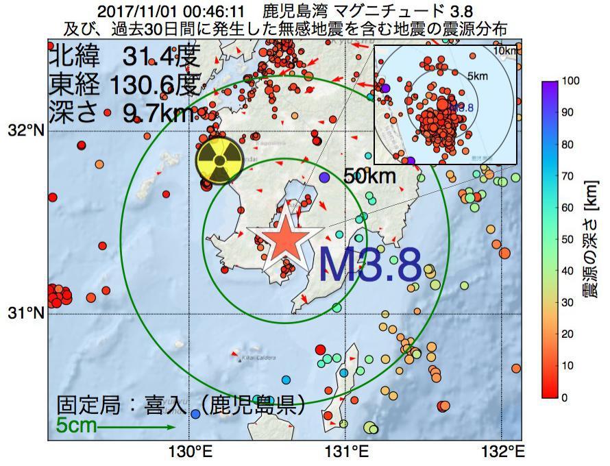 地震震源マップ:2017年11月01日 00時46分 鹿児島湾でM3.8の地震