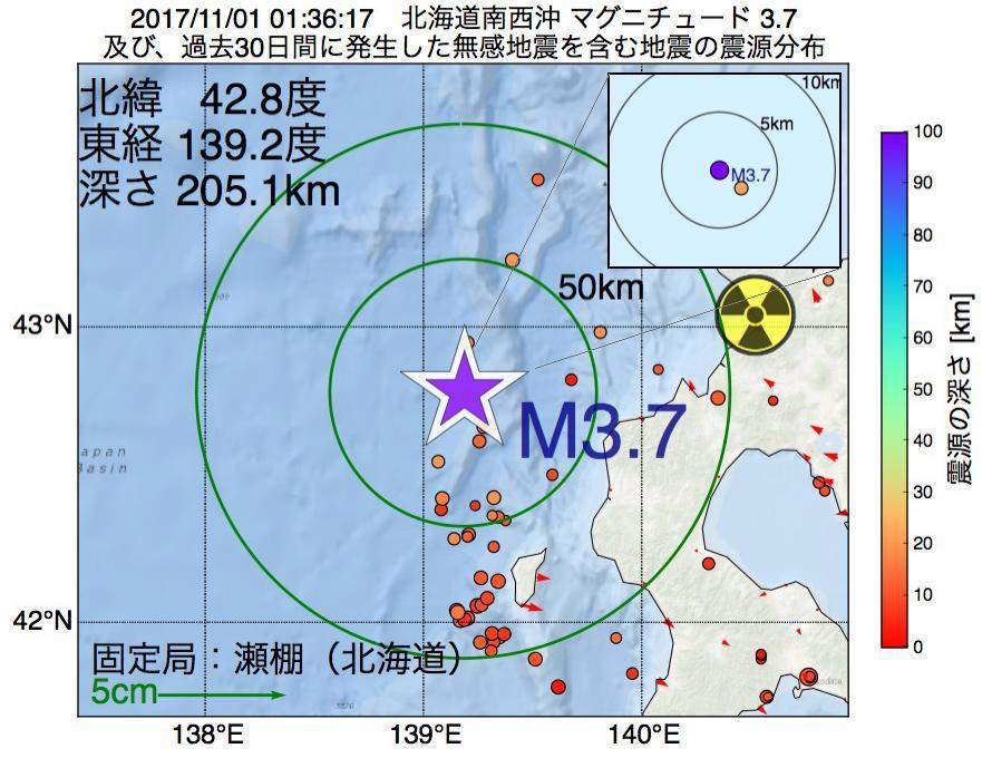 地震震源マップ:2017年11月01日 01時36分 北海道南西沖でM3.7の地震