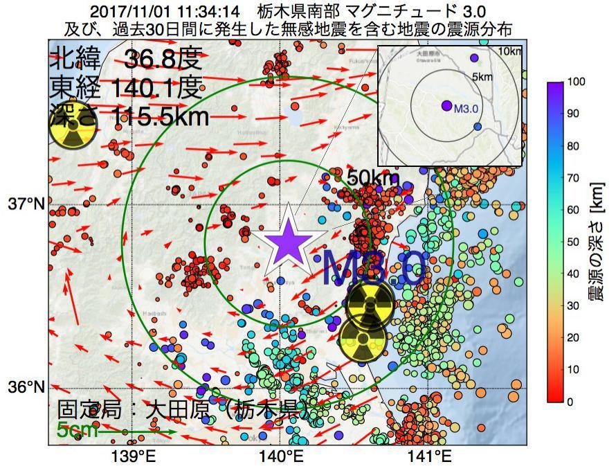 地震震源マップ:2017年11月01日 11時34分 栃木県南部でM3.0の地震
