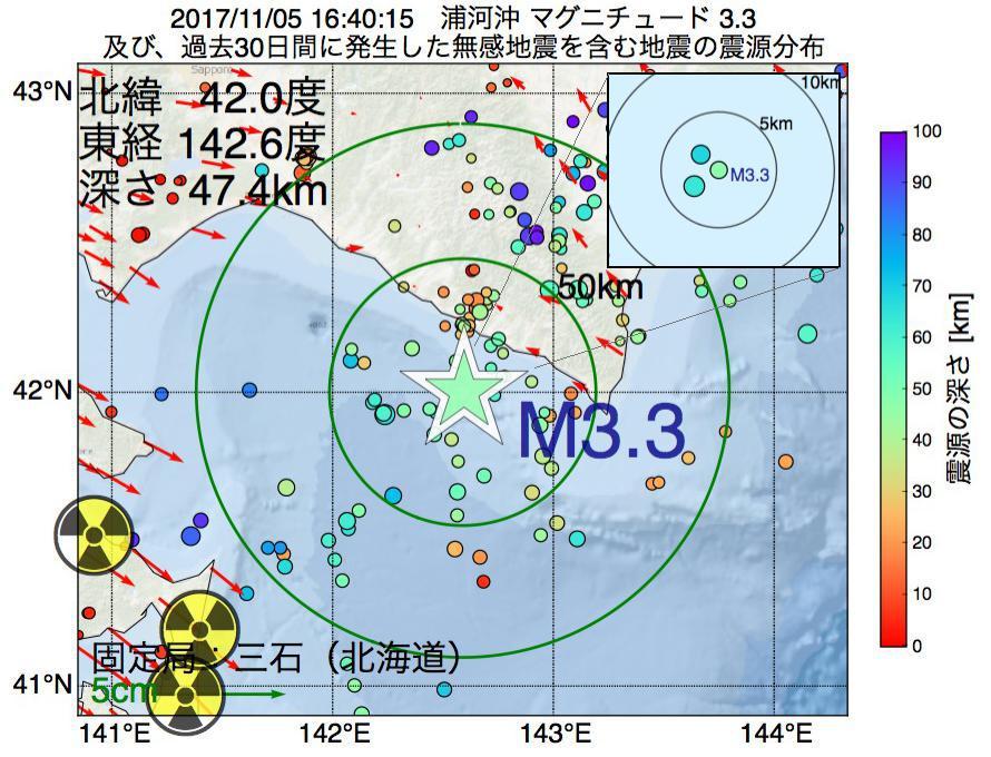 地震震源マップ:2017年11月05日 16時40分 浦河沖でM3.3の地震