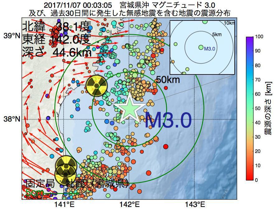 地震震源マップ:2017年11月07日 00時03分 宮城県沖でM3.0の地震