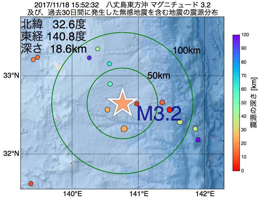 地震震源マップ:2017年11月18日 15時52分 八丈島東方沖でM3.2の地震