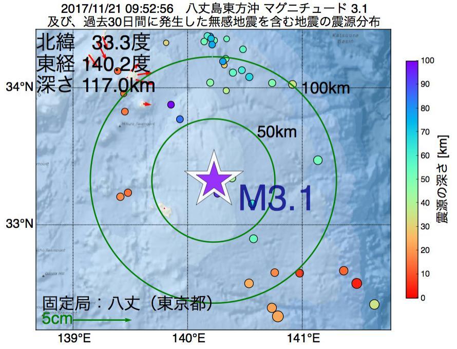 地震震源マップ:2017年11月21日 09時52分 八丈島東方沖でM3.1の地震