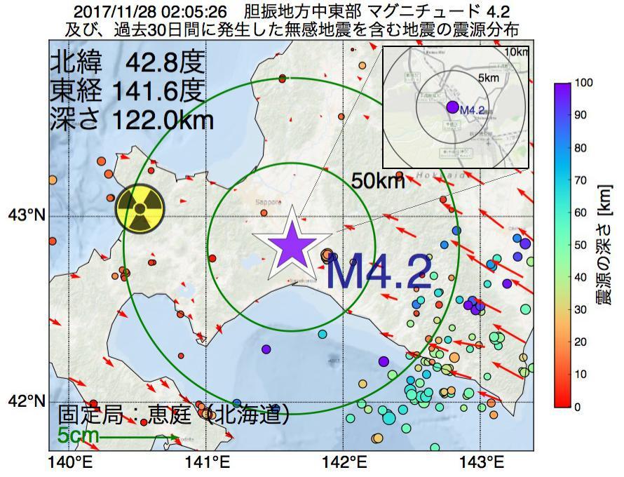 地震震源マップ:2017年11月28日 02時05分 胆振地方中東部でM4.2の地震