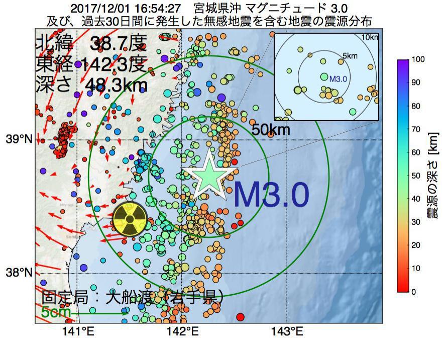 地震震源マップ:2017年12月01日 16時54分 宮城県沖でM3.0の地震