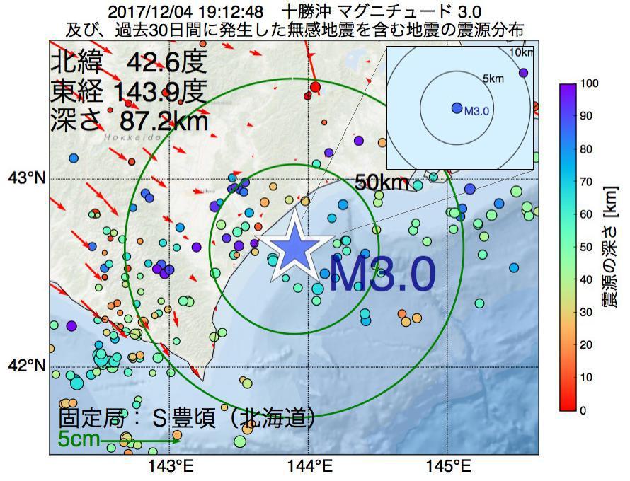 地震震源マップ:2017年12月04日 19時12分 十勝沖でM3.0の地震