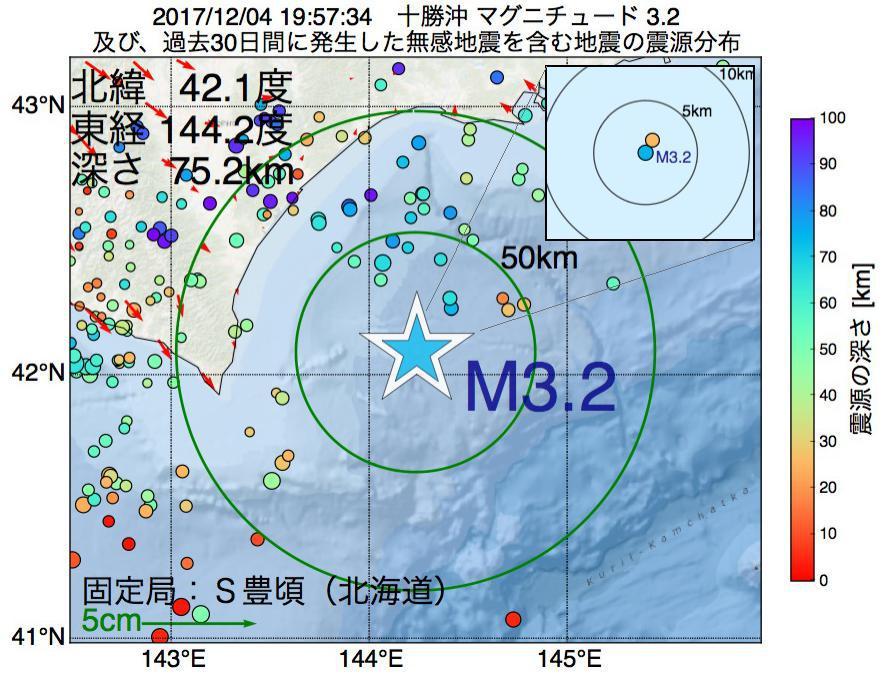 地震震源マップ:2017年12月04日 19時57分 十勝沖でM3.2の地震
