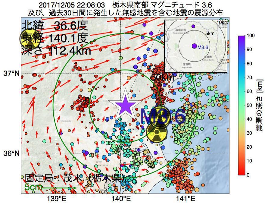 地震震源マップ:2017年12月05日 22時08分 栃木県南部でM3.6の地震
