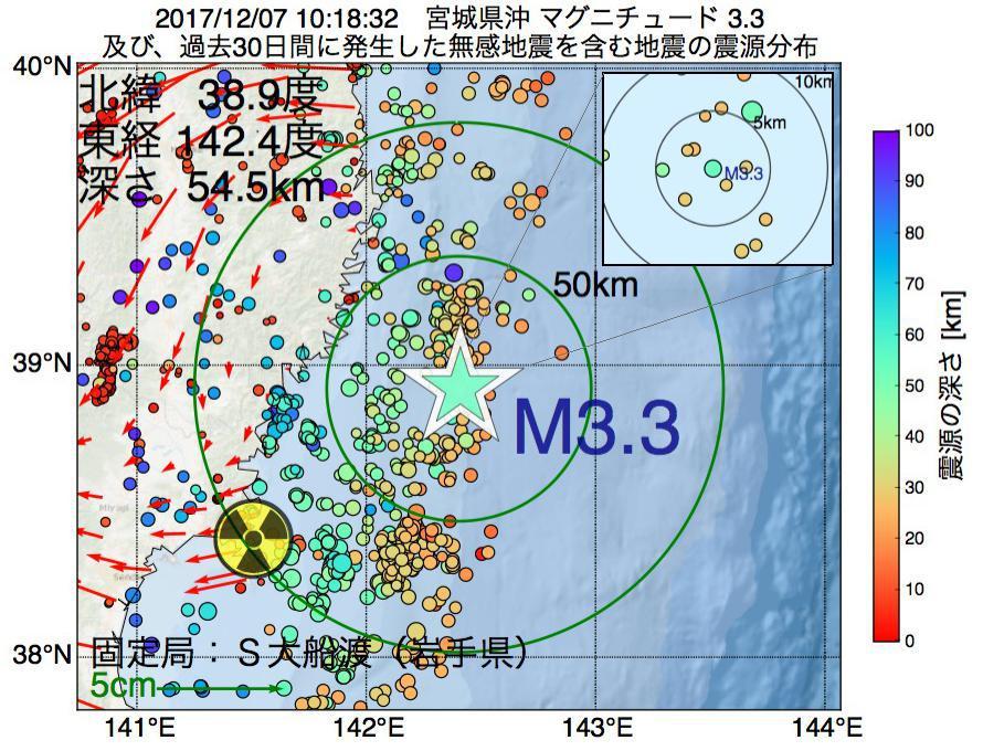 地震震源マップ:2017年12月07日 10時18分 宮城県沖でM3.3の地震