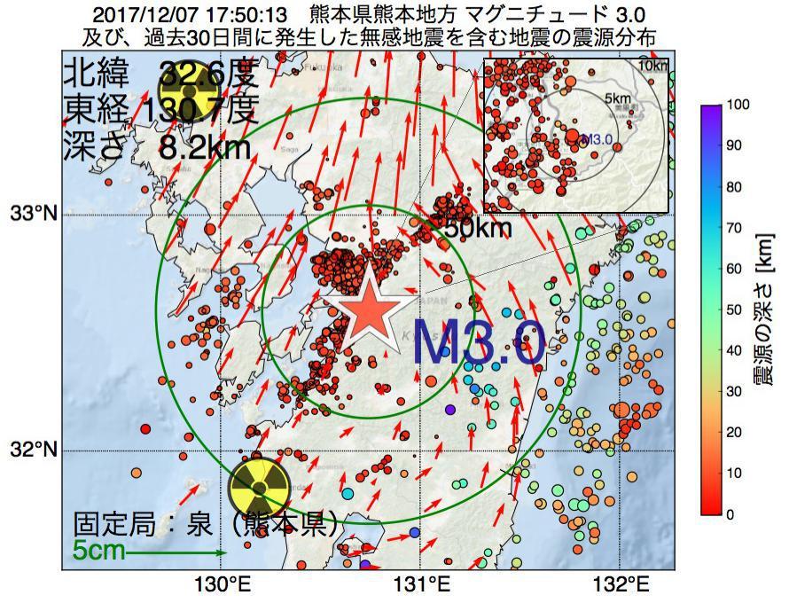 地震震源マップ:2017年12月07日 17時50分 熊本県熊本地方でM3.0の地震