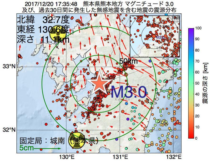 地震震源マップ:2017年12月20日 17時35分 熊本県熊本地方でM3.0の地震