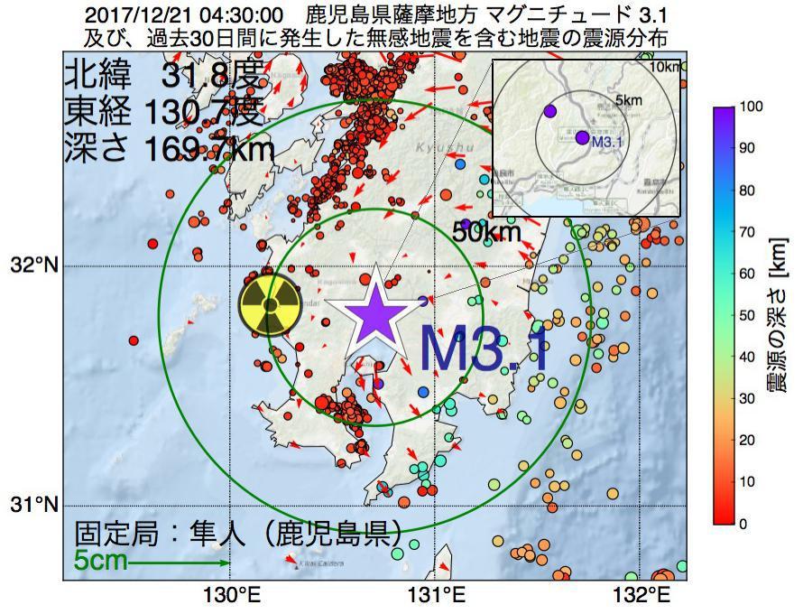 地震震源マップ:2017年12月21日 04時30分 鹿児島県薩摩地方でM3.1の地震