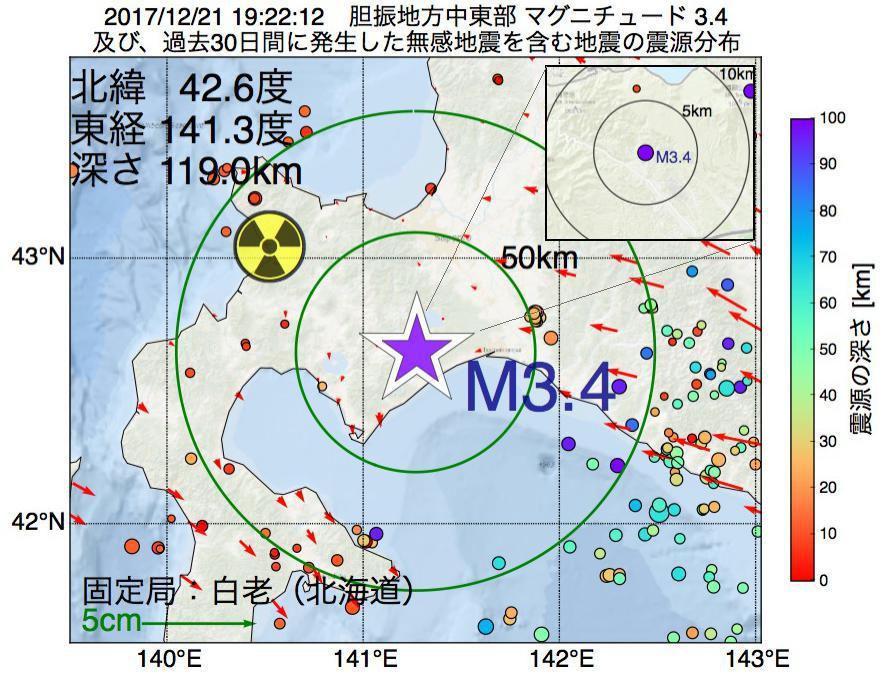 地震震源マップ:2017年12月21日 19時22分 胆振地方中東部でM3.4の地震
