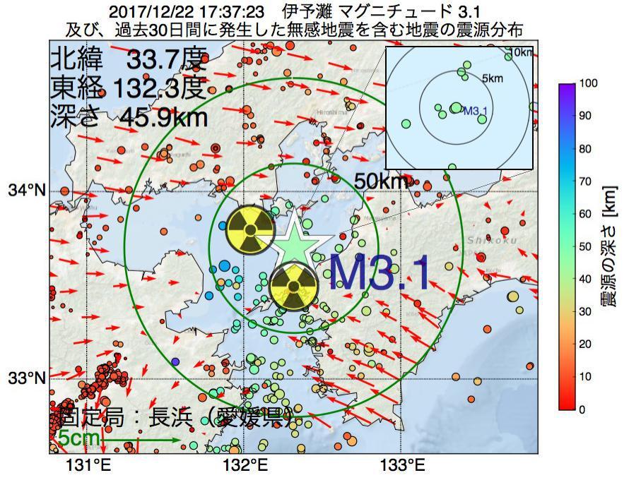 地震震源マップ:2017年12月22日 17時37分 伊予灘でM3.1の地震