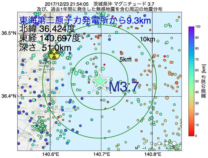 地震震源マップ:東海第二原子力発電所から9.3km地点でM3.7の地震が発生しました