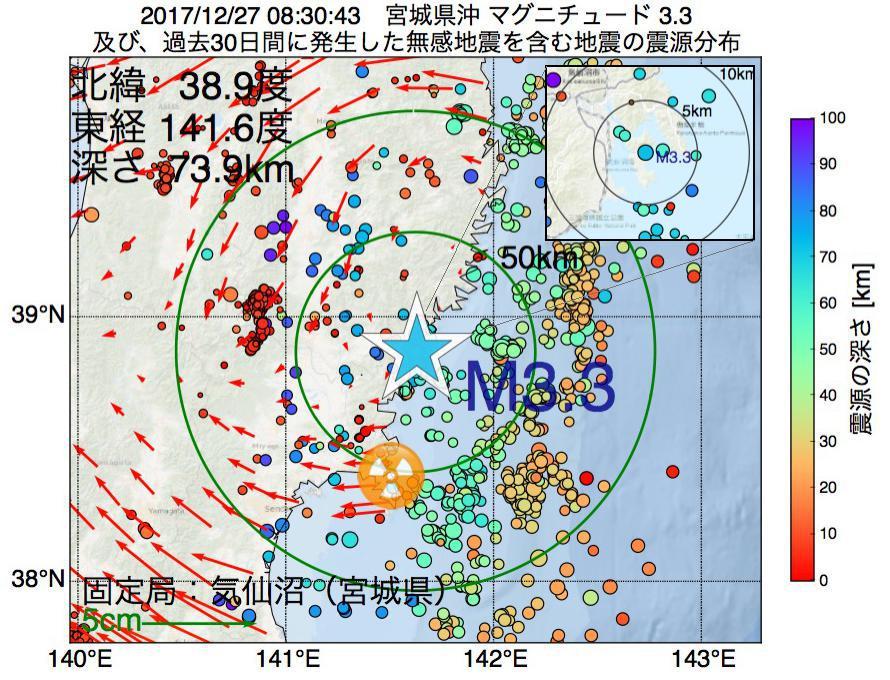 地震震源マップ:2017年12月27日 08時30分 宮城県沖でM3.3の地震