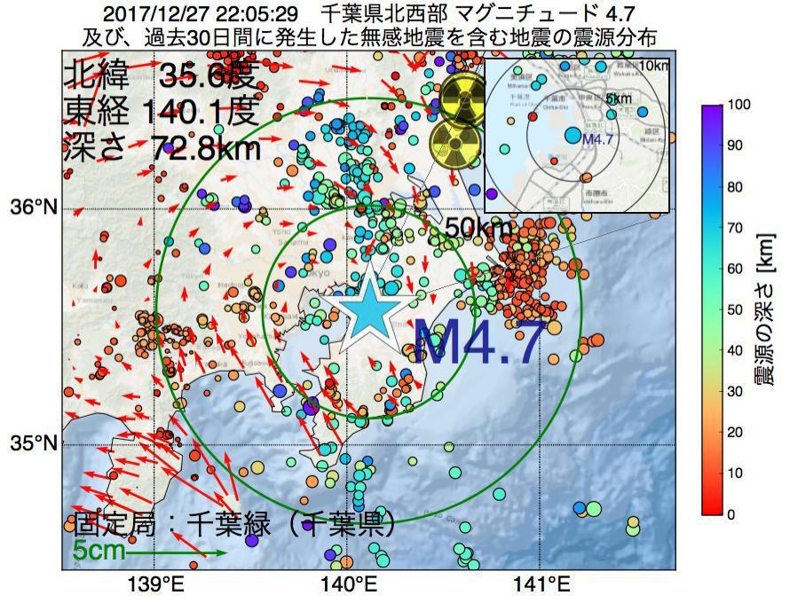 地震震源マップ:2017年12月27日 22時05分 千葉県北西部でM4.7の地震
