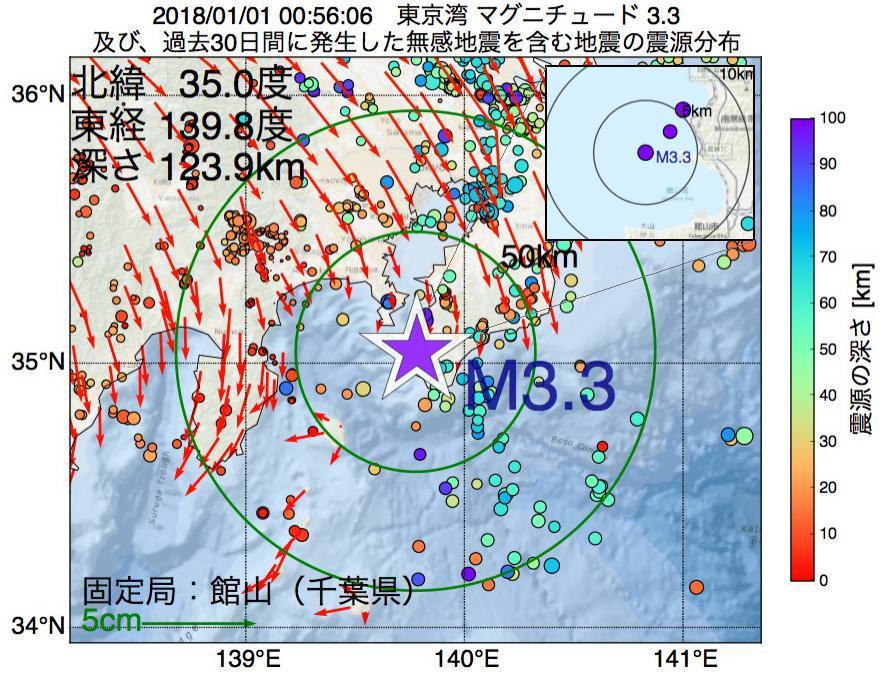 地震震源マップ:2018年01月01日 00時56分 東京湾でM3.3の地震