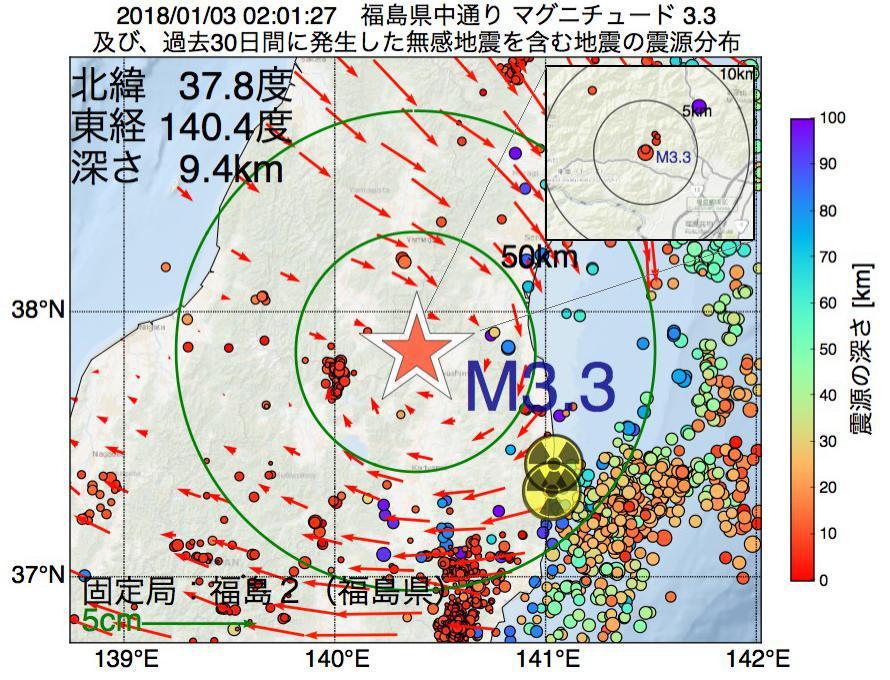 地震震源マップ:2018年01月03日 02時01分 福島県中通りでM3.3の地震