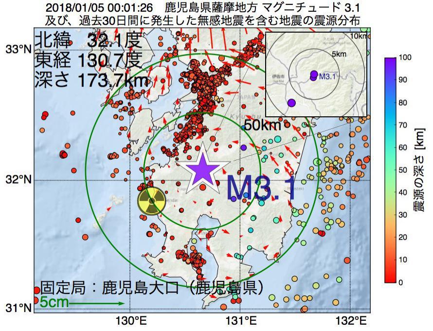 地震震源マップ:2018年01月05日 00時01分 鹿児島県薩摩地方でM3.1の地震