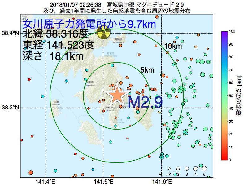 地震震源マップ:女川原子力発電所から9.7km地点でM2.9の地震が発生しました