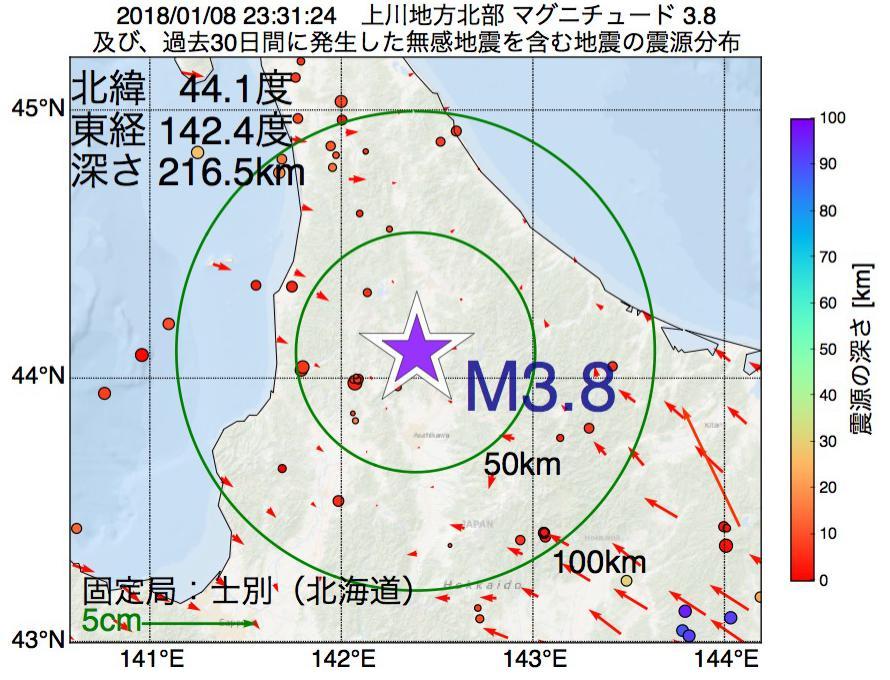 地震震源マップ:2018年01月08日 23時31分 上川地方北部でM3.8の地震