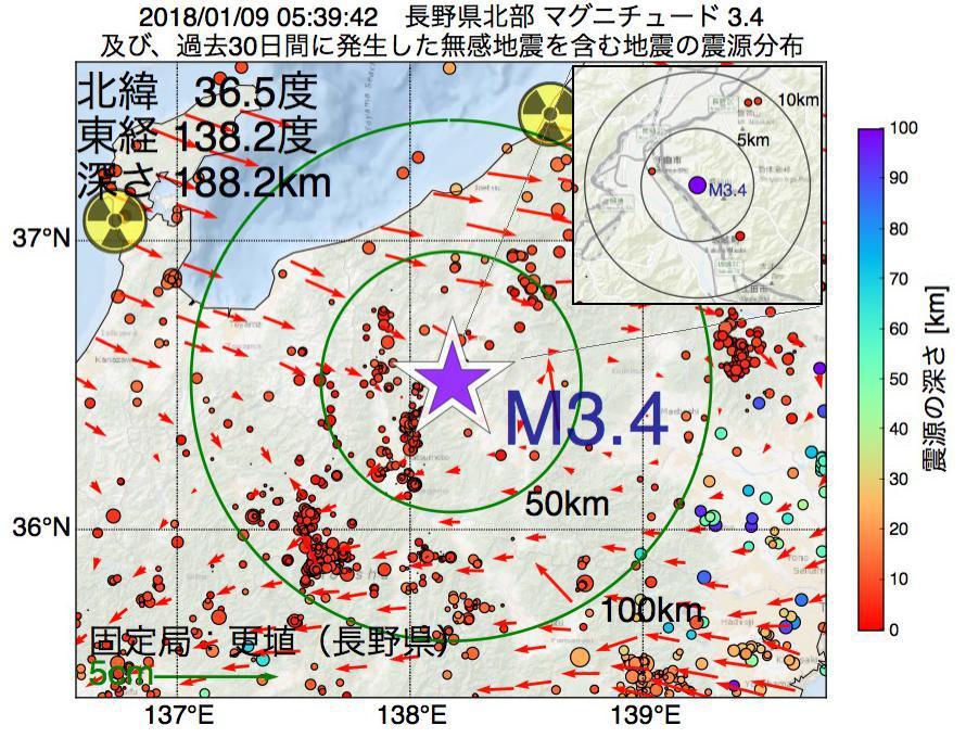 地震震源マップ:2018年01月09日 05時39分 長野県北部でM3.4の地震
