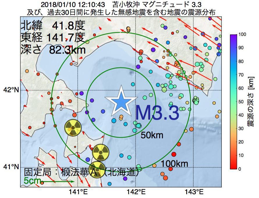 地震震源マップ:2018年01月10日 12時10分 苫小牧沖でM3.3の地震