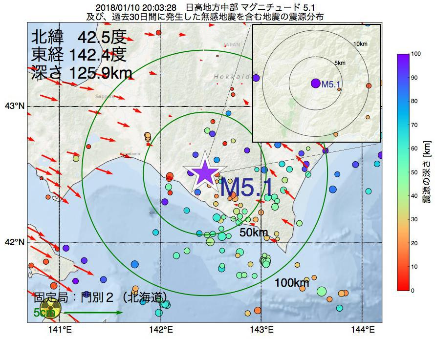 地震震源マップ:2018年01月10日 20時03分 日高地方中部でM5.1の地震
