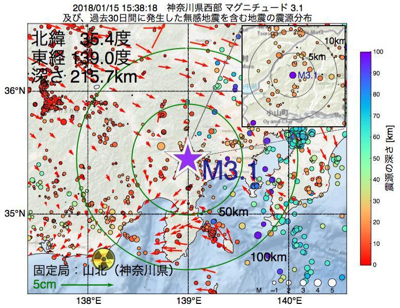 地震震源マップ:2018年01月15日 15時38分 神奈川県西部でM3.1の地震
