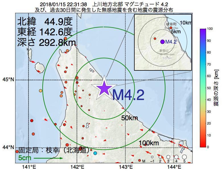地震震源マップ:2018年01月15日 22時31分 上川地方北部でM4.2の地震